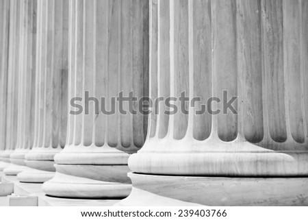 Column Pillars courthouse, black and white - stock photo