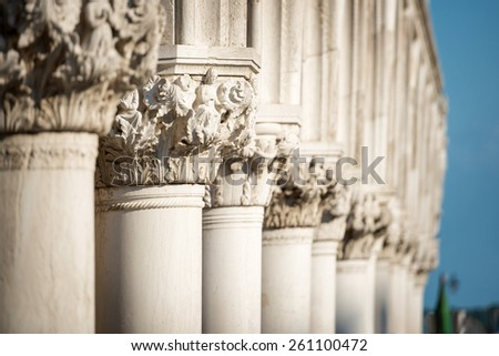 Column Sculptures of Doge's Palace, Saint Marks Square, Venice, Italy - stock photo