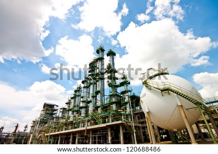 column tower in petrochemical plant - stock photo