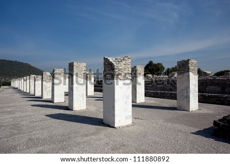 Columns. Ancient ruins of Tula de Allende, home of the Atlantean figures and  the characteristic chacmools. In the state of Hidalgo, Mexico. - stock photo