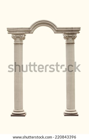 Columns and Arch isolated. - stock photo