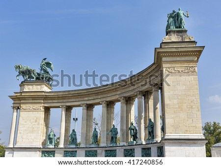 Columns and bronze statues of the monument in Heroes square, Budapest, Hungary  - stock photo