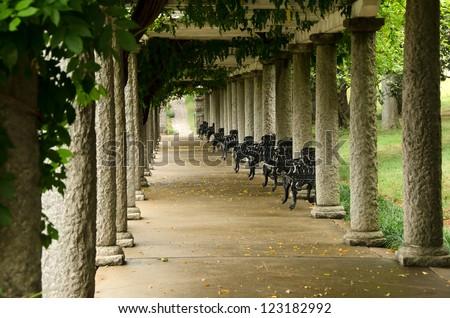 Columns and Ivy in Maymont Gardens, Richmond, Virginia - stock photo