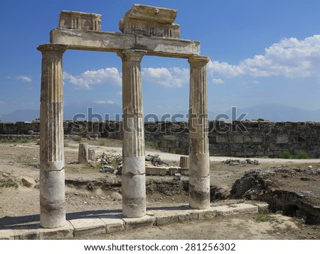 Columns and ruins of ancient Artemis temple in Hierapolis, Turkey - stock photo