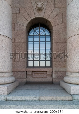 Columns and window at Houses of parliament in Helsinki, Finland. - stock photo