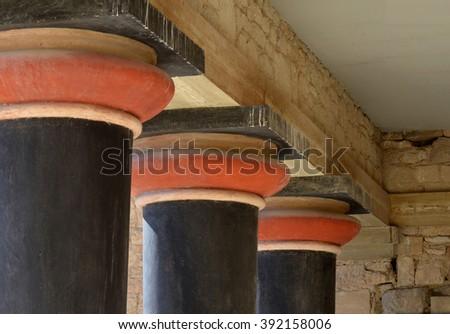 Columns at Knossos - stock photo