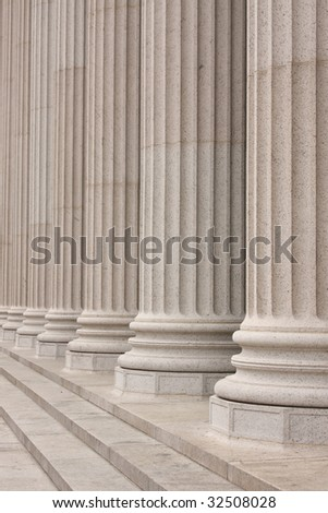Columns in front of NYC building - stock photo