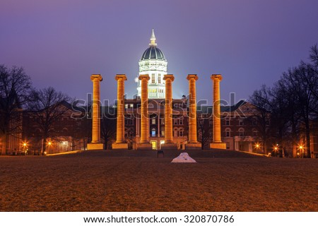 Columns in front of University of Missouri building in Columbia, Missouri, USA - stock photo