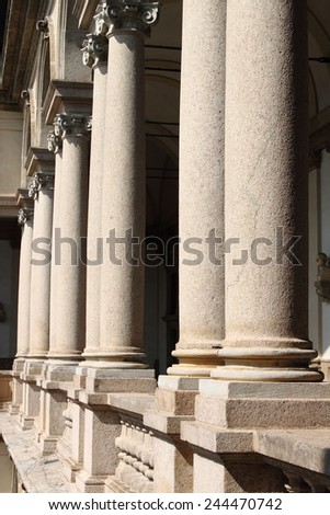 Columns in row in a cloister