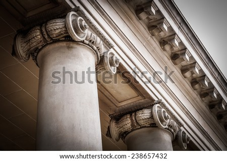 Columns in the courtyard of the Palace of the Legion of Honor. - stock photo