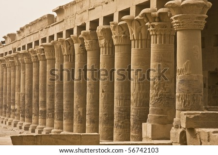 Columns in the Philae temple in Aswan, Egypt - stock photo