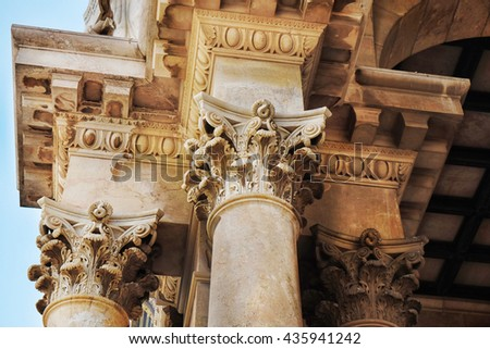 Columns of a Church, Mount of Olives in Jerusalem, Israel. - stock photo