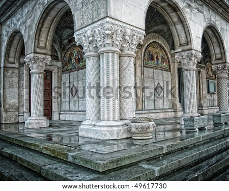 Columns of classic antique orthodox romanian church