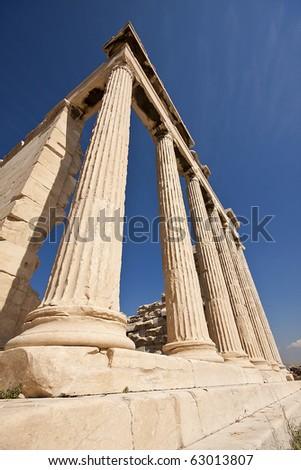 Columns of Parthenon building, Acropolis, Athens, Greece. - stock photo