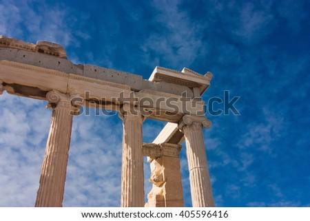 Columns of parthenon in Acropolis over blue sky, Athens, Greece - stock photo