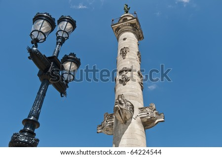 Columns of Rostrales located at Bordeaux, France - stock photo