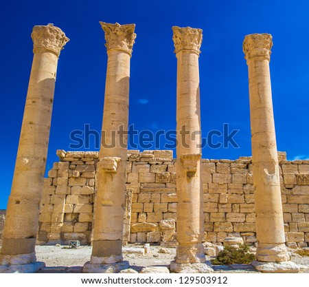 Columns of the ruins of Syrian town Palmyra, UNESCO World Heritage Site