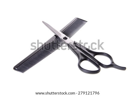 Comb and Scissors. Set Barber. Isolated on White Background. - stock photo