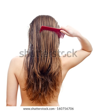 Comb your hair delicately after washing hair  - stock photo