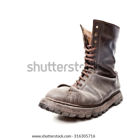combat boot isolated on white background - stock photo