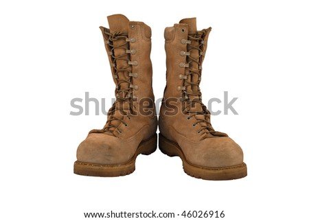 Combat boots, laced and tied - stock photo