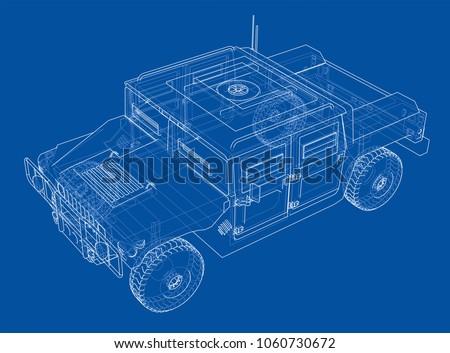 Combat car blueprint 3 d illustration wireframe stock illustration combat car blueprint 3d illustration wire frame style malvernweather Choice Image