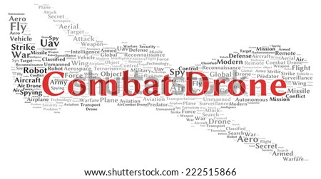 Combat drone word cloud shape concept - stock photo