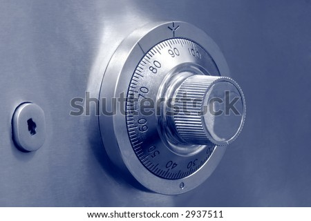 Combination dial safe lock and key lock - stock photo