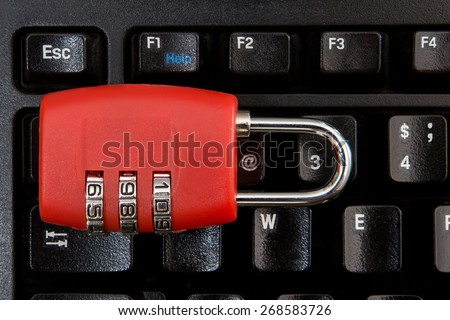 combination lock is on keyboard - stock photo