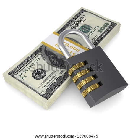 Combination lock on a pack of dollars. Isolated render on a white background