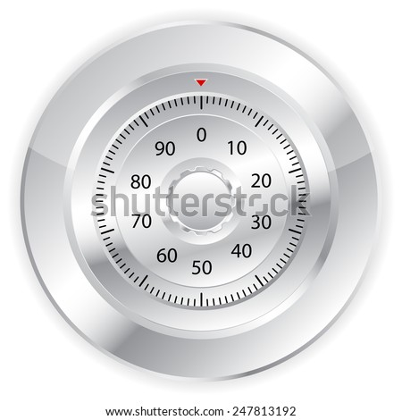 Combination lock on white background.