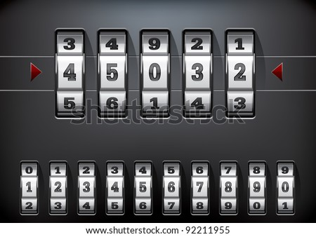 combination lock set with all ten numbers - Jpeg version of vector illustration - stock photo