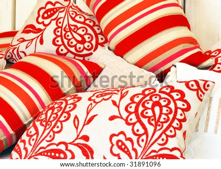 Combination of different patterned pillows - stock photo