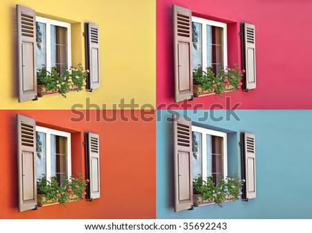combination of 4 old European Wooden Windows - stock photo