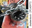 Combination Padlock and Australian money - stock photo