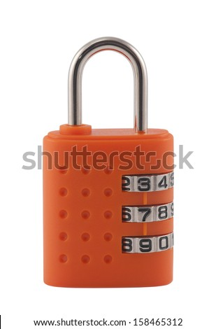 Combination padlock with clipping path - stock photo