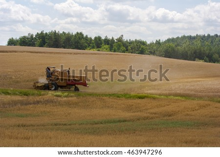 combine during harvest