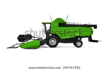 Combine Harvester Isolated - stock photo