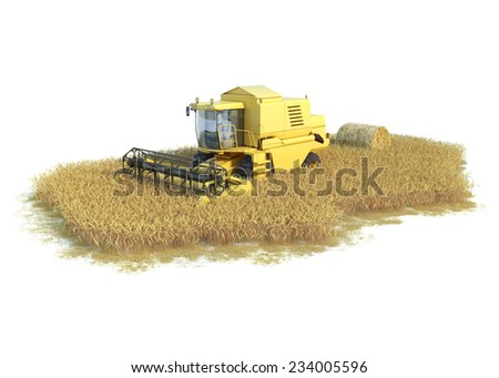 combine-harvester on isolated field - stock photo