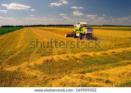 Combine harvester working on the wheat field on sunny summer day. - stock photo