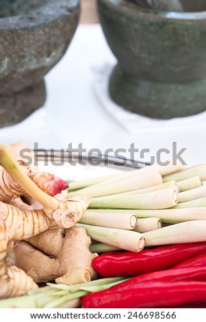 Combine soup chili lemon grass galangal ginger herb spicy yam thai food. - stock photo