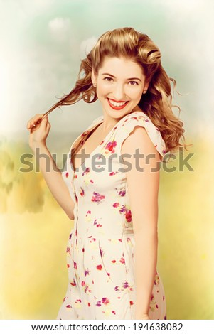 Combined photo illustration of a vintage pinup woman wearing white floral dress with perfect makeup and hairstyle walking in a painted nostalgic field of past memories - stock photo