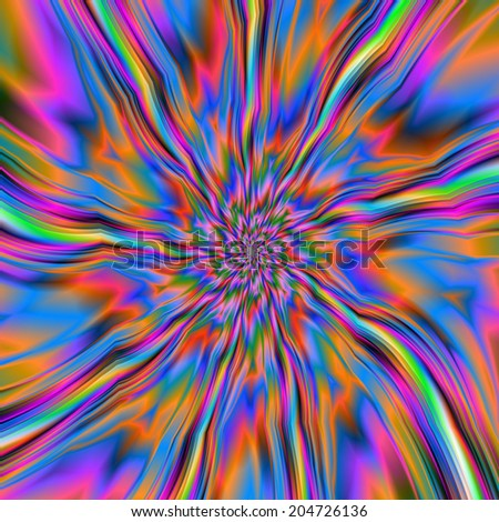 Combustion of Blue Pink and Orange / A digital abstract fractal image with a flaming swirl design in blue, pink, orange and green. - stock photo
