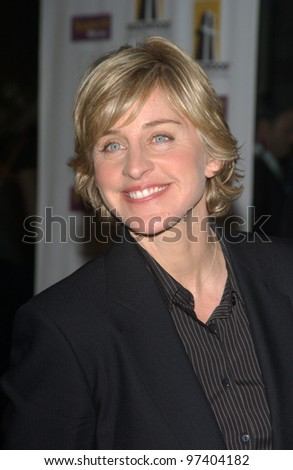 Comedienne ELLEN DEGENERES at the 2003 Hollywood Awards at the Beverly Hills Hilton. Oct 20, 2003  Paul Smith / Featureflash - stock photo