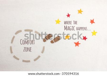 Comfort zone vs where the magic happens - stock photo