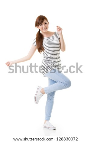 Comfortable Asian girl portrait in casual dress isolated on white background. - stock photo