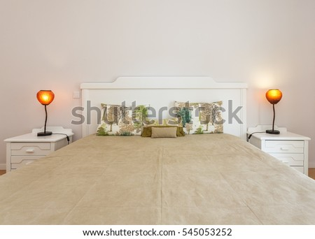Comfortable bedroom with modern decoration. Close up