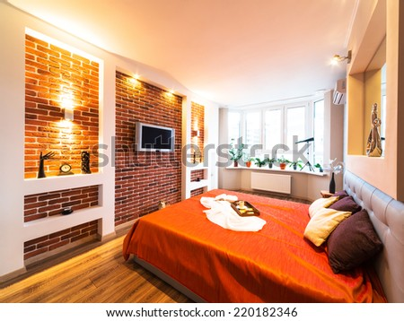 comfortable bedroom with nice decoration - stock photo