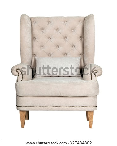 Comfortable classic grey chair isolated on white background