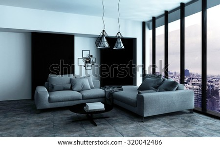 Comfortable corner in a spacious modern living room interior with grey upholstered couches in front of a floor-to-ceiling view window. 3d Rendering. - stock photo